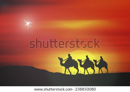 Silhouette three wise men. Glory to God in the highest, and on earth peace among those with whom he is pleased. Birth Xmas Story God Life Star Trust Religion King Rider Gospel Obey Angel Servant