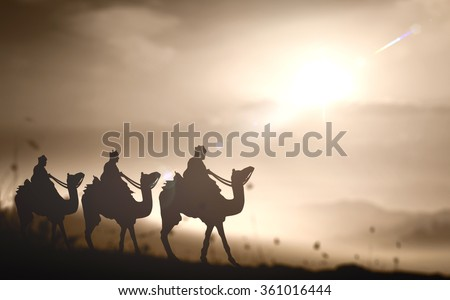 Silhouette three wise men on sunset background. Christmas Eve. Nativity scene story, bethlehem, Glory to God in the highest, and on earth peace among those with whom he is pleased, Epiphany concept. - stock photo