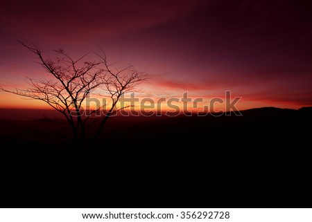 Silhouette view of sunlight on the mountain, Thailand