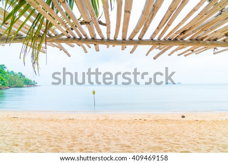 silhouette view with bower on the beach - stock photo