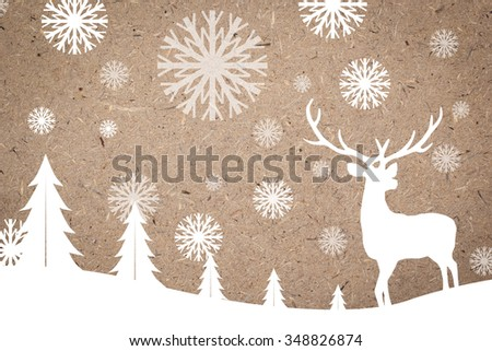 silhouette white reindeer over cork board backgrounds for Christmas celebrations decorate concept:xmas backdrop seasonal:merry Christmas festival and new year wallpaper concept.silhouette with path. - stock photo