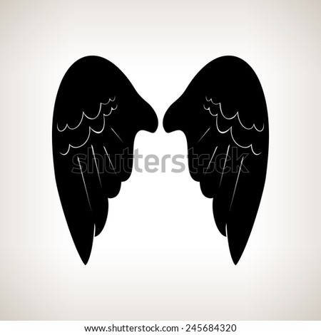 Silhouette wings on a light background,black and white  illustration