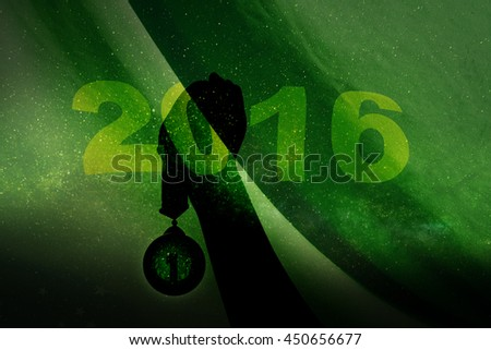 Silhouette Winner Hand Raise Medal with 2016 Word on Green Blow Background