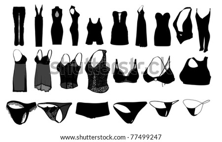 Silhouette woman clothes and lingerie - stock photo