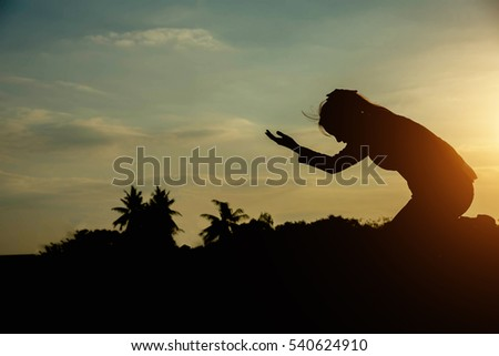 silhouette woman pray to god