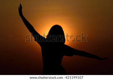 silhouette yoga lady sunset evening time