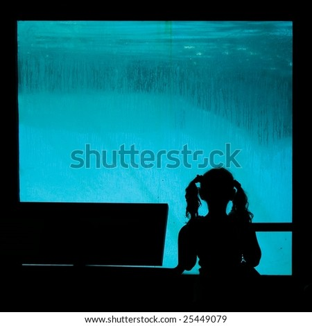 silhouette young girl looks into aquarium tank