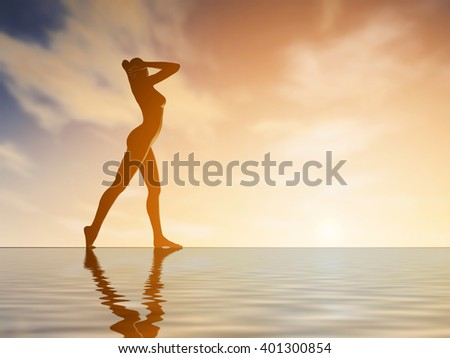 Silhouette young woman practicing yoga on the beach at sunset: 3d rendering