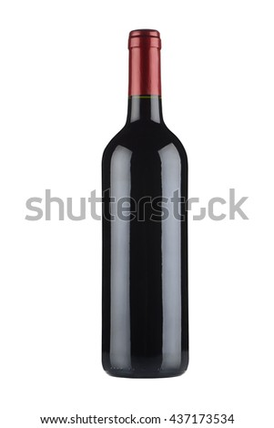 Silhouetted bottle of wine on white background