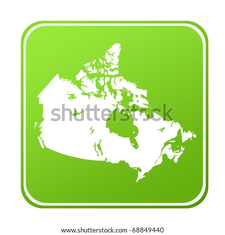 Silhouetted map of Canada on green eco button, isolated on white background. - stock photo