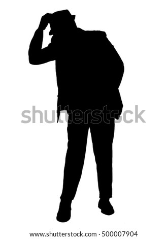 Silhouetted of a man dressed in a suit tipping his hat isolated on white.