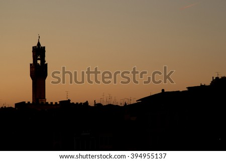 Silhouettes at sunset in Florence