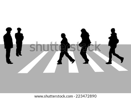 Silhouettes big crowds people on street - stock photo
