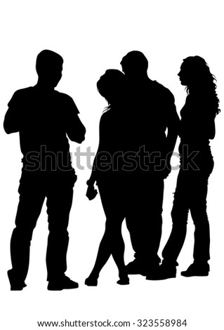 Silhouettes big crowds people on white background - stock photo