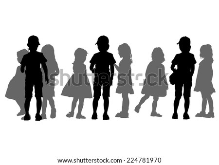 Silhouettes crowds of young kids on white background - stock photo