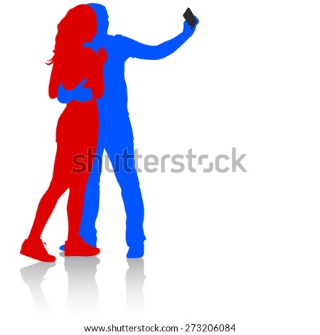 Silhouettes  man and woman taking selfie with smartphone on white background.  illustration.