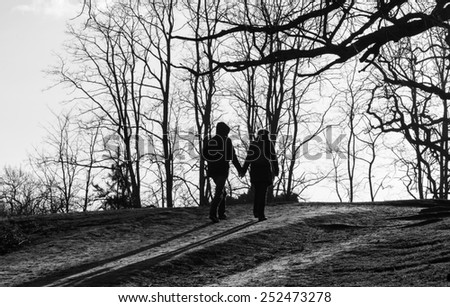 Silhouettes of a couple taken from behind walking in a park. Black and White. - stock photo
