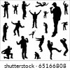 Silhouettes of a dancing and singing men. - stock photo