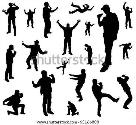 Silhouettes of a dancing and singing men.