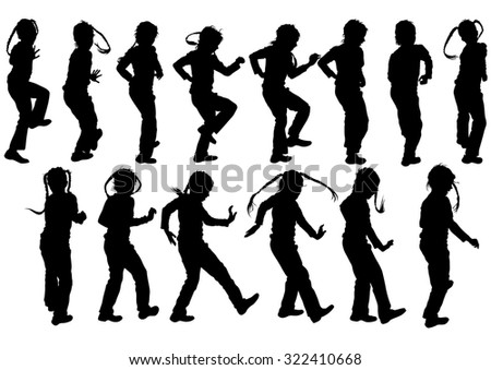 Silhouettes of a little girl on a white background