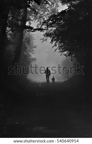 Silhouettes of a lonly man with his dog and trees in dense fog, Knoops Park, Bremen, Germany, black white foto