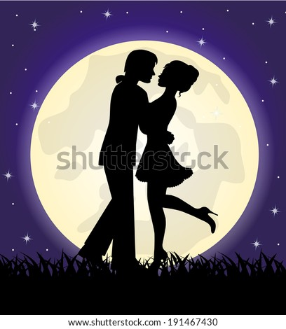 silhouettes of a loving couple standing in front of the moon and the sky