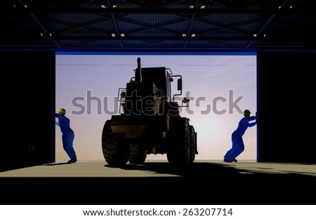 Silhouettes of a tractor and workings in the hangar. - stock photo