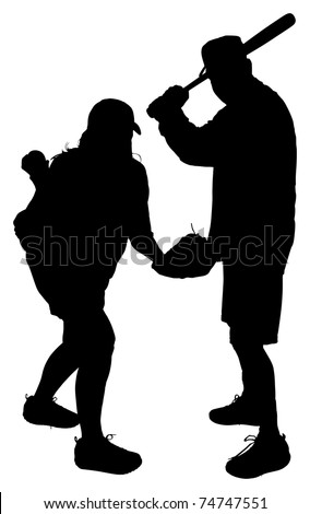 Silhouettes of Adult Couple Playing Baseball with Clipping Path - stock photo