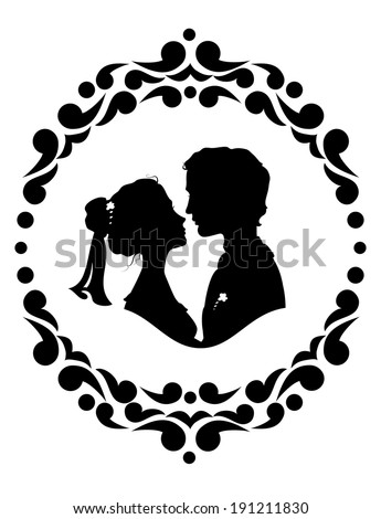 Silhouettes of bride and groom. Black against white background