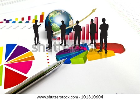 Silhouettes of business and business graph with earth (Elements of this image furnished by NASA) - stock photo