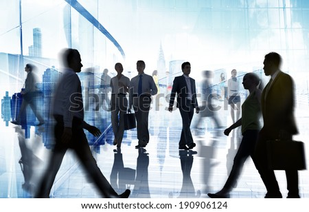 Silhouettes of Business and Casual People Walking - stock photo