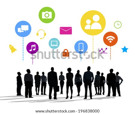Silhouettes of Business People and Social Media Concepts - stock photo