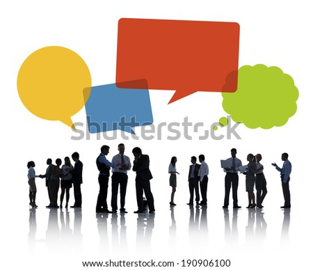 Silhouettes of Business People Discussing, with Speech bubble