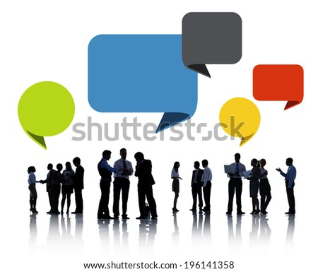 Silhouettes of Business People Discussing with Speech Bubbles