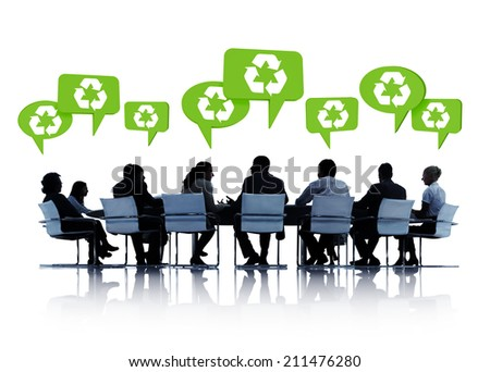 Silhouettes Of Business People In A Conference With Speech Bubbles Above Them With Recycling Symbols In Them.