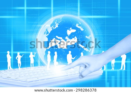 Silhouettes of business people in different postures and humans hand pressing keyboard on abstract blue background with earth. Elements of this image furnished by NASA - stock photo