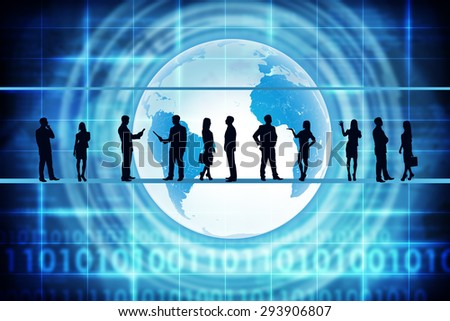 Silhouettes of business people in different postures on abstract blue background with earth. Elements of this image furnished by NASA