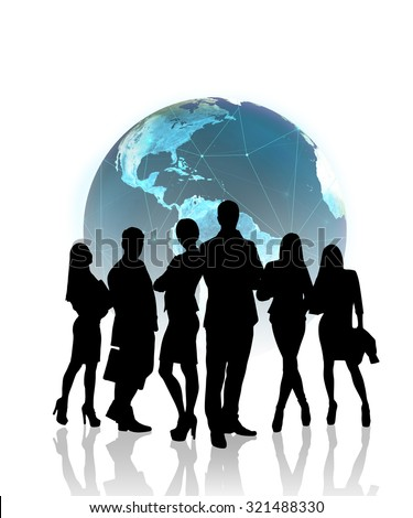Silhouettes of business people in front of the globe.Elements of this image furnished by NASA
