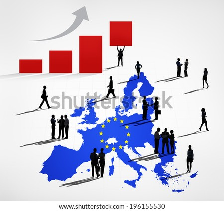 Silhouettes Of Business People On A Blue Cartography Of EU And An Increasing Bar Graph - stock photo