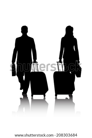 silhouettes of business people with baggage - stock photo