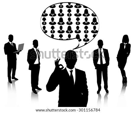 Silhouettes of business people with speech bubble isolated on white - stock photo