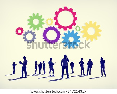 Silhouettes of Business People Working and Gears Above Concept