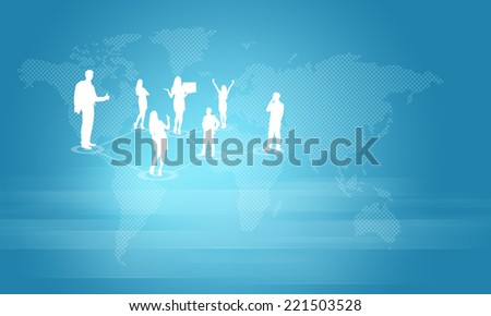 Silhouettes of business people. World map as backdrop - stock photo