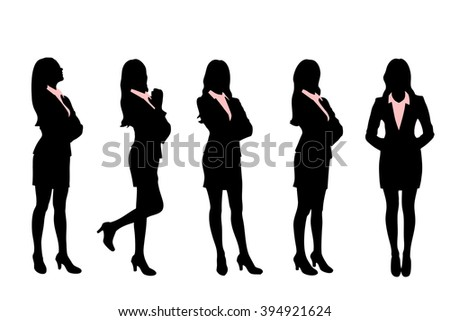 Silhouettes of Business women standing with different pose - stock photo