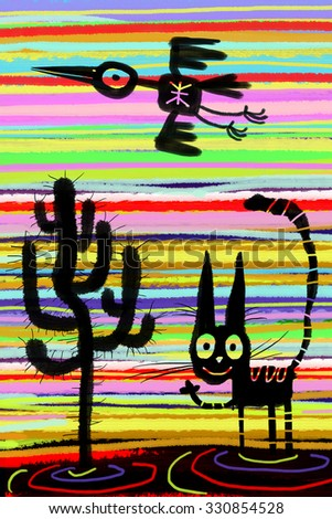 Silhouettes of cat, cactus and flying bird on the striped background.  - stock photo