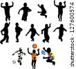 Silhouettes of children in movement on a white background - stock vector