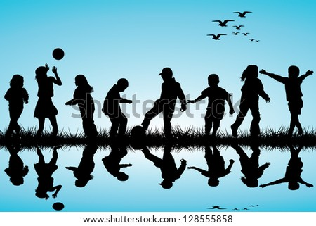 Silhouettes of children playing near a water - stock photo