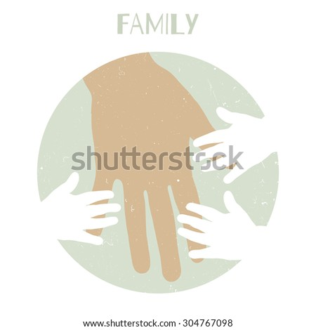 Silhouettes of children's hands and mother's hand. Raster version - stock photo
