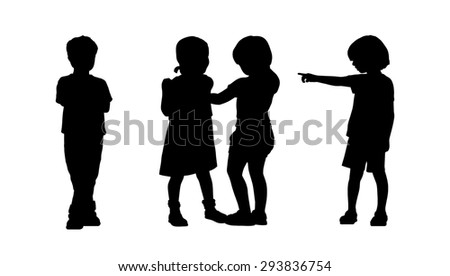 silhouettes of children 6 years old standing in different postures, front and back view, summertime - stock photo
