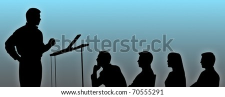 Silhouettes of conference speaker and listeners. - stock photo
